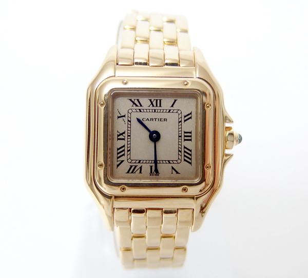 千成★カルティエ/メンテ済 美品パンテールSM 18K金無垢腕時計