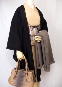 黒茶の紬地長羽織、コーディネート