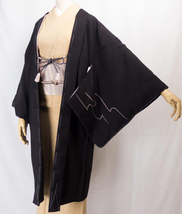 黒茶の紬地長羽織、千成堂オリジナル