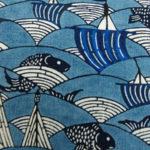 玉那覇有公の藍型×本場結城紬の名古屋帯、藍と藍でコーディネートする