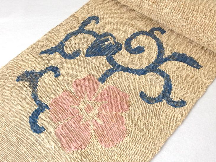 出羽の織座® からむし×和紙 すくい織り帯(紅花・藍)