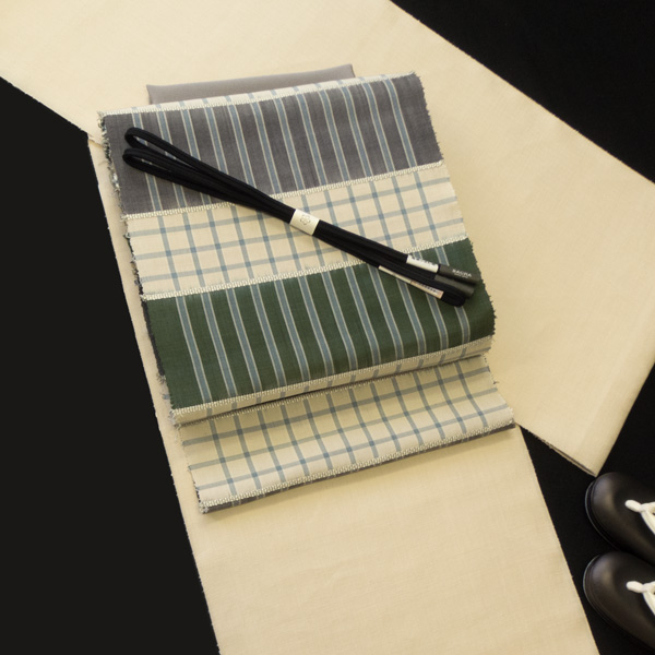 柳崇の帯と三才山紬のコーディネート