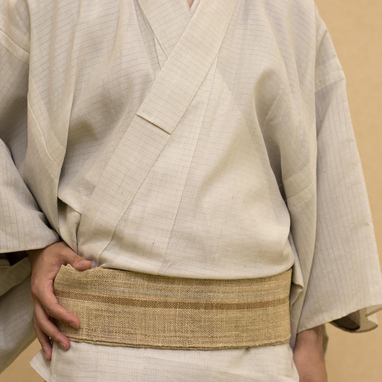 出羽の織座 藤布の角帯を白たか上布とコーディネートする