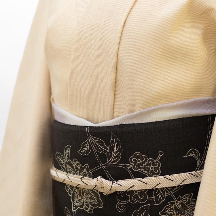 三才山紬としょうざんの更紗帯のコーディネート