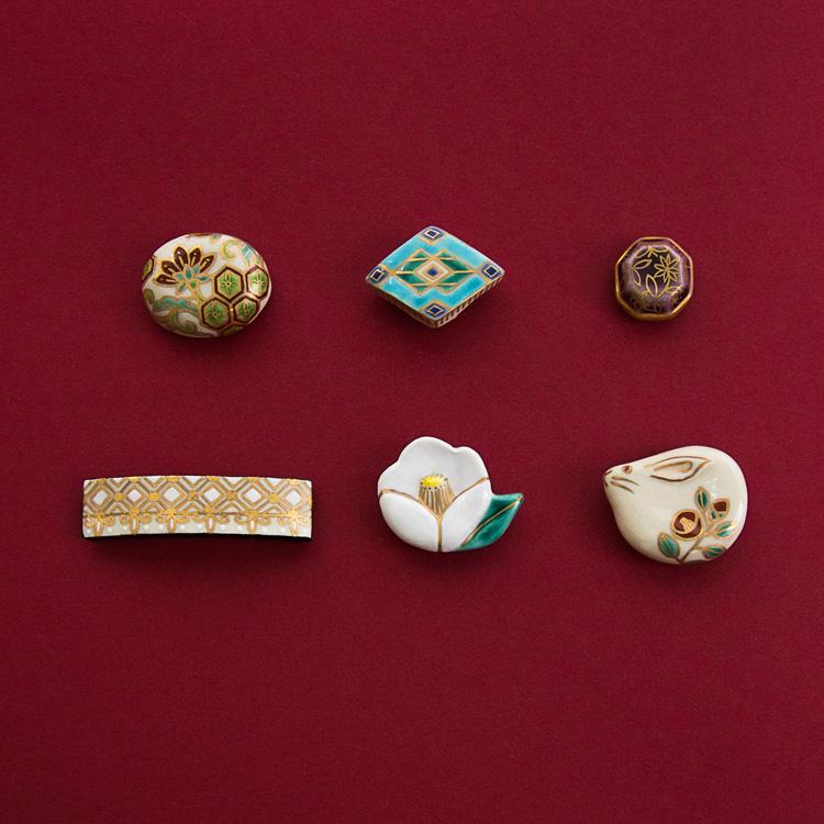 五福香菜子 陶器の帯留 秋の新作 更紗・兎・椿