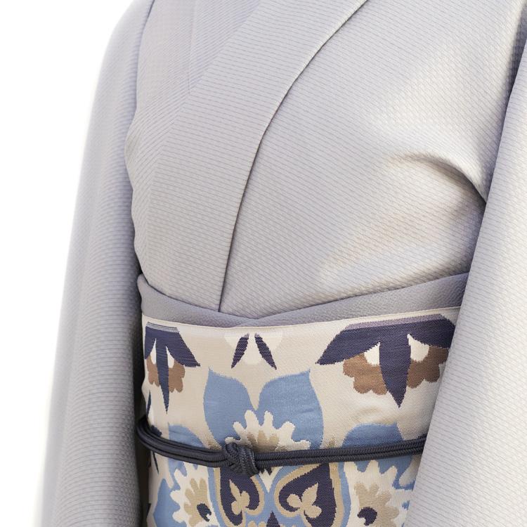 米沢織の着尺と洛風林の名古屋帯のコーディネート