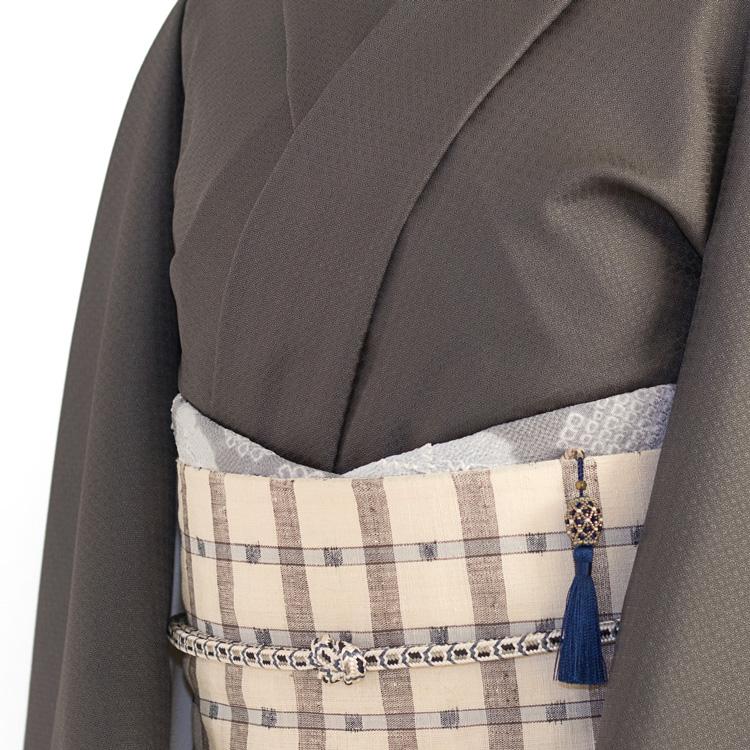 下井紬と格子の帯のコーディネート