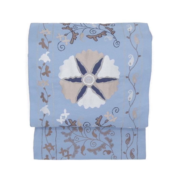 工芸帯地 洛風林 「チムール花文」灰水色 ブルーグレー 九寸名古屋帯
