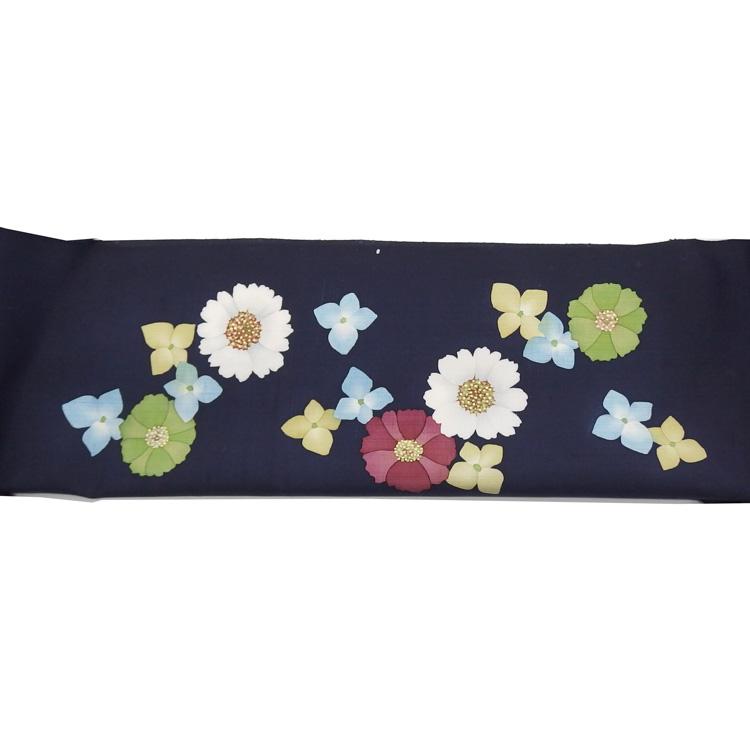 染の川勝「花の集い」千成堂着物店別注 堰出し友禅の染め名古屋帯の帯前