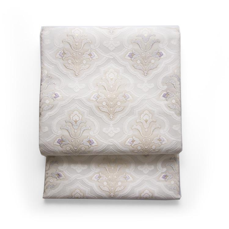 鈴木織物 水衣錦 袋帯 白よごしに薄藤色