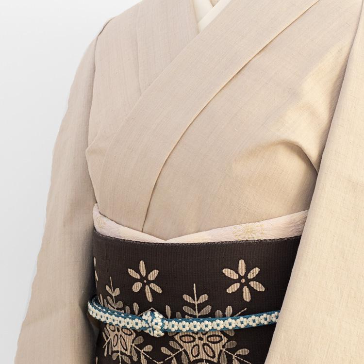 本場結城紬着尺としょうざん別注一珍染めと生紬の名古屋帯のコーディネート