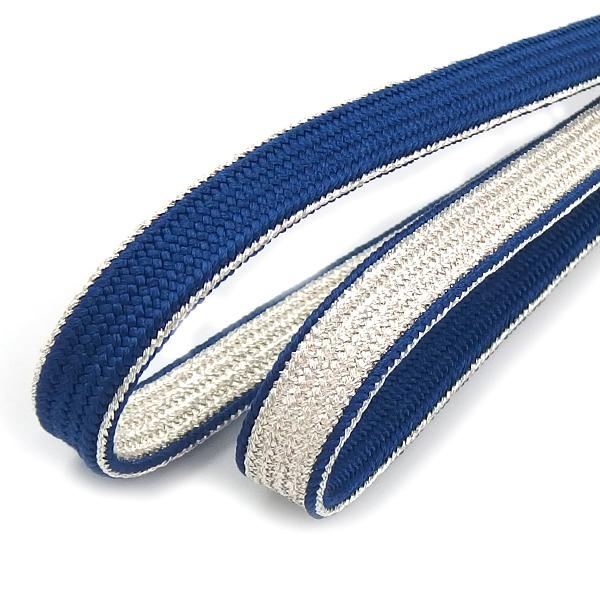 衿秀 帯締め 三分紐 青藍に銀ラメ