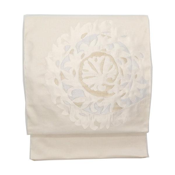 洛風林 「レリーフ」 九寸名古屋帯 膨れ織 白よごしに金糸と白花