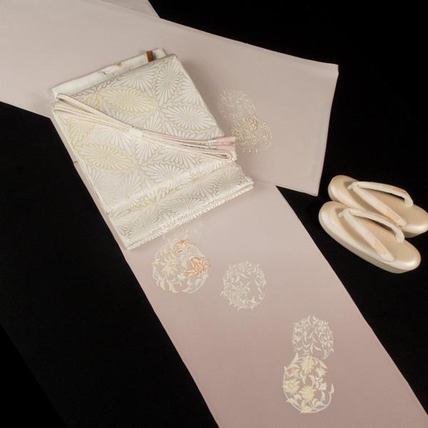 河合美術織物 袋帯 菊七宝 白