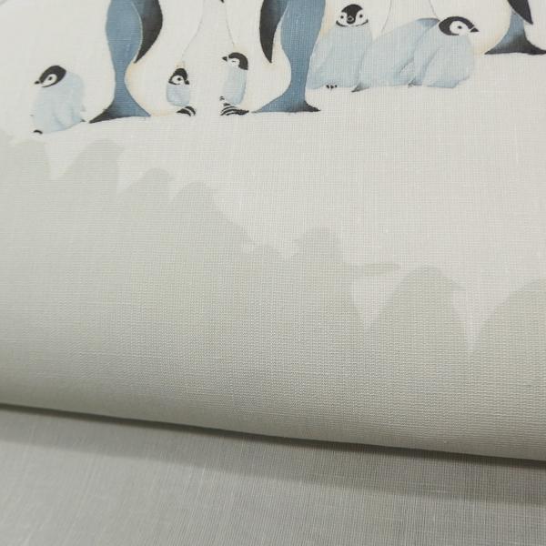 水橋さおり 「ペンギン」 九寸名古屋帯 染め帯 ミント系の薄灰色 夏帯