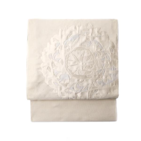 洛風林 「レリーフ」 九寸名古屋帯 膨れ織 白よごしに銀糸と白花