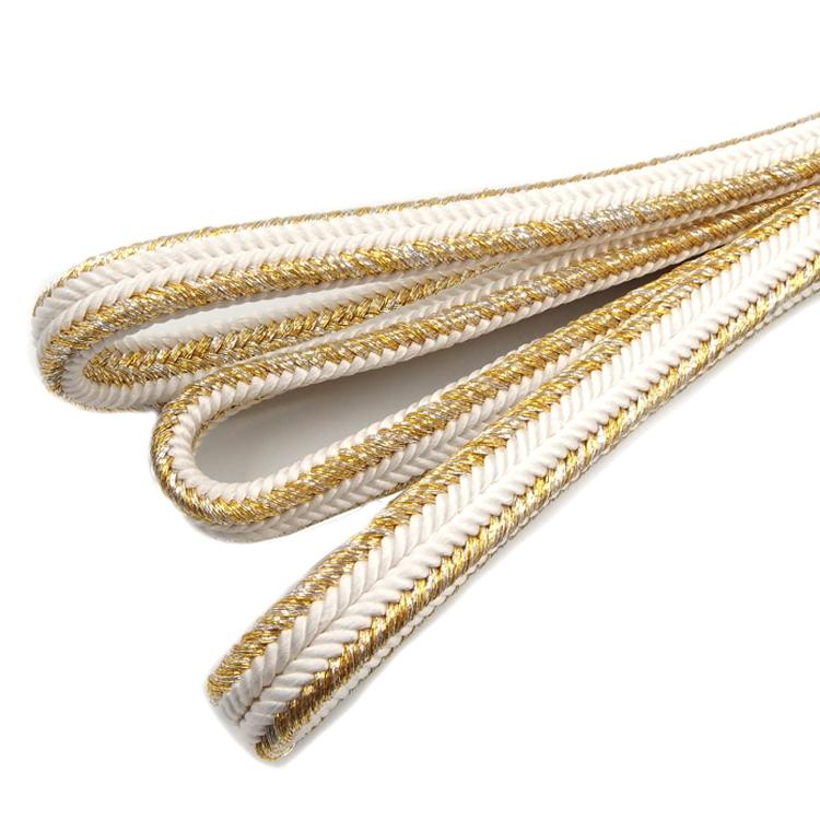 渡敬 帯締め 新ゆるぎ金耳付 白に金銀糸