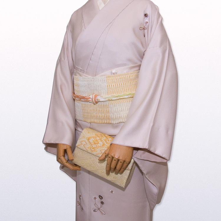 北村武資 魚々子縞 「市松」 袋帯 白よごしと金