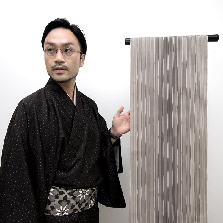 遠藤聡子さん別注 小倉織の帯地と作品担当 井上英樹
