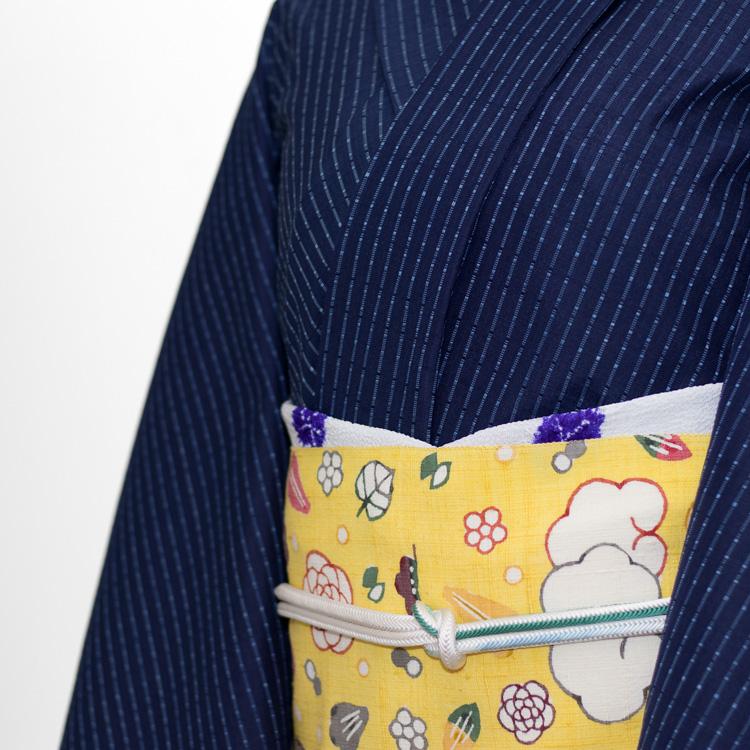 岡本紘子 「雲と波」 九寸名古屋帯 染め帯 型染め 黄色 コーディネート