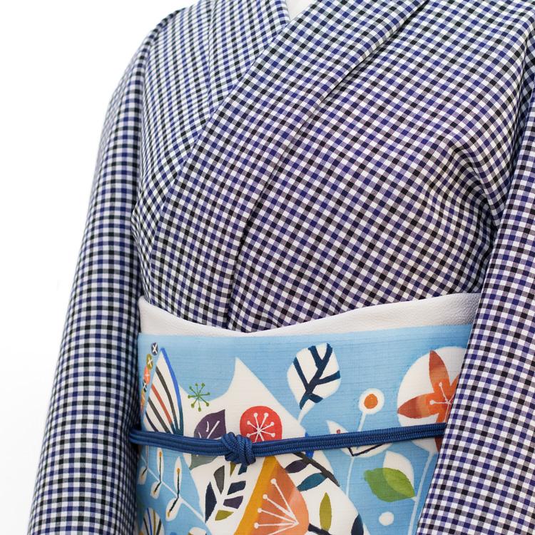 佐藤百恵 「そよ風」 九寸名古屋帯 染め帯 型染め 薄藍にだいだい色(水色系) コーディネート