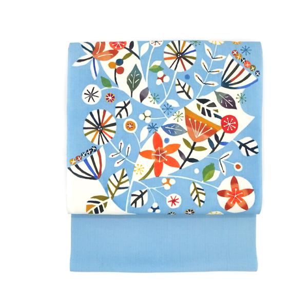 佐藤百恵 「そよ風」 九寸名古屋帯 染め帯 型染め 薄藍にだいだい色(水色系)