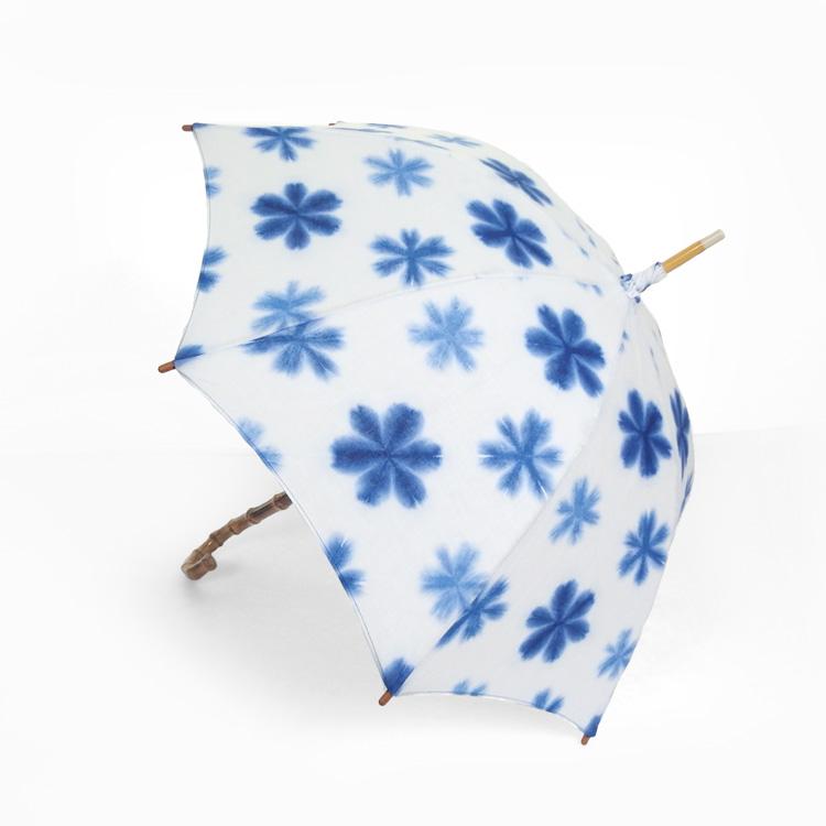 藤井絞 麻の日傘 雪花絞り 白と青 日本製