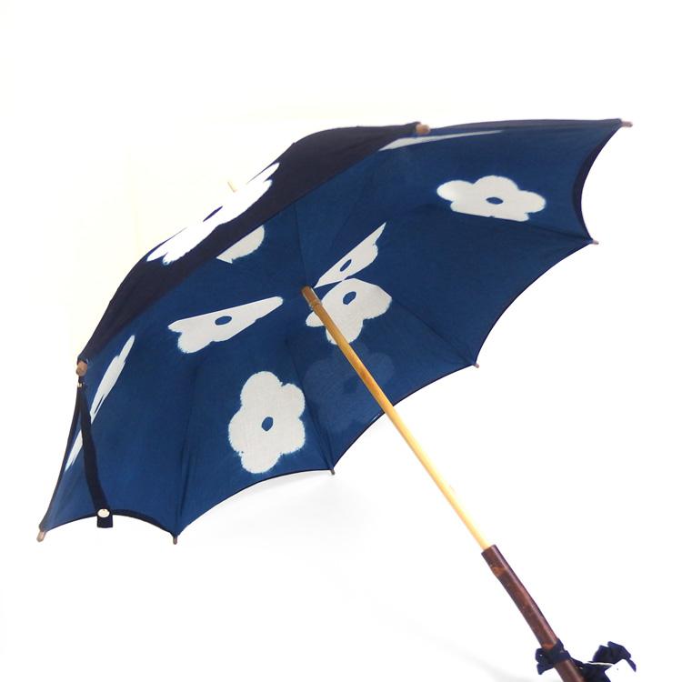 平敷慶彦(琉球藍染工房) 琉球藍染の日傘 「花重ね / 蛙張り」の内側