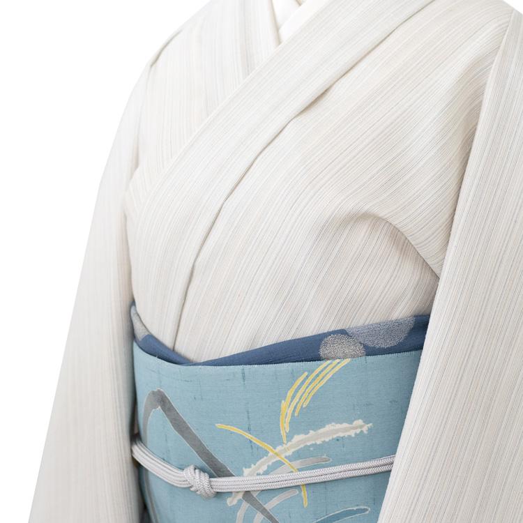 佐藤碧さんの名古屋帯「沈然」と三才山紬のコーディネート