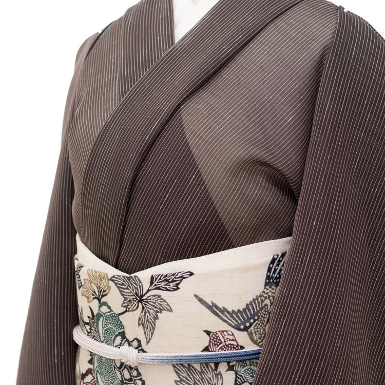 星野織物 「麻駒上布 着尺 広幅」 黒茶色に白の縞