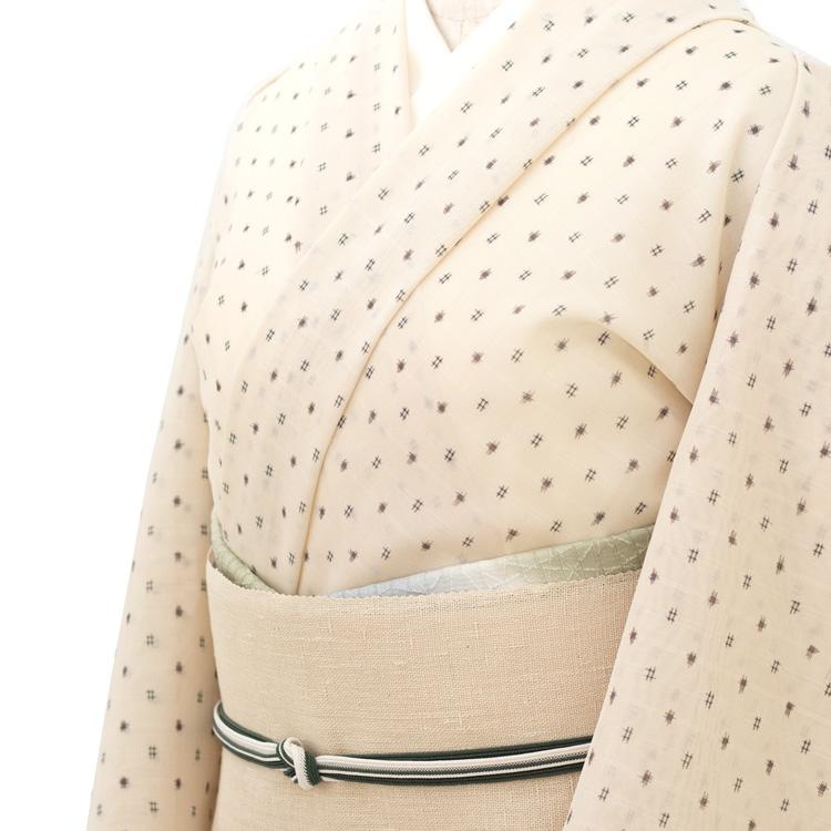 本田利夫さん別注の夏塩沢と、工房別注 諸紙布の帯のコーディネート
