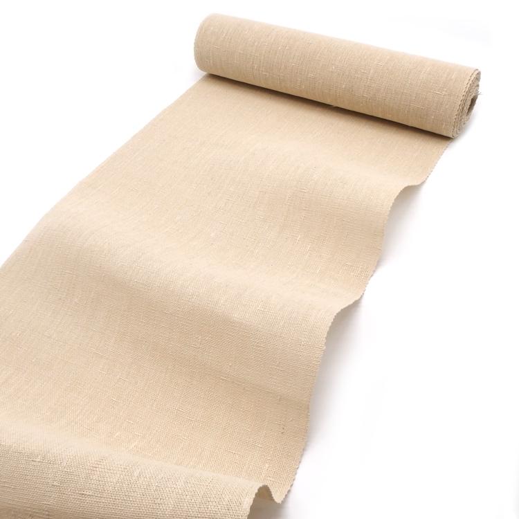 「寒ずきの諸紙布(雪さらし済)千成堂別注」 八寸名古屋帯 薄生成色 夏帯~単衣帯 染め帯 型染め