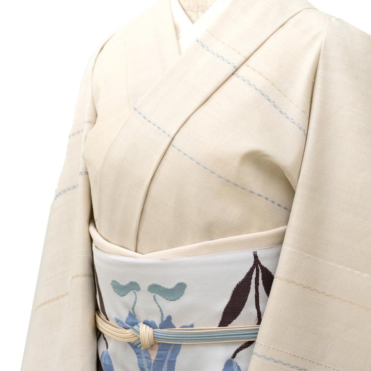 三才山紬 千成堂着物店別注と洛風林の帯「百合文」のコーディネート