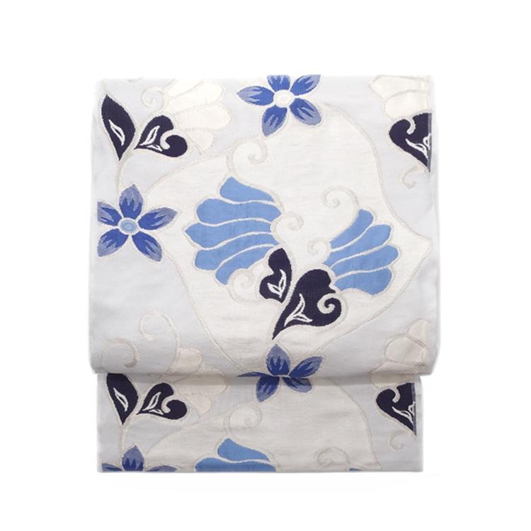 洛風林 「マグノリアの花」 膨れ織 九寸名古屋帯 月白色