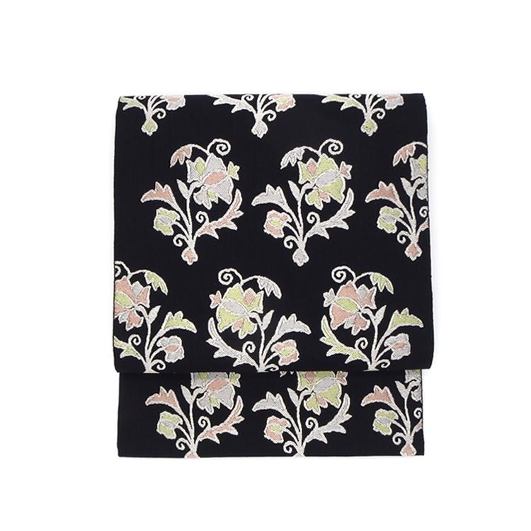 洛風林 「ボハラ刺繍」 九寸名古屋帯 濃い墨黒色