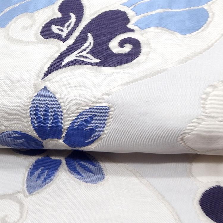 洛風林 「マグノリアの花」 膨れ織 九寸名古屋帯 月白色(水色がかった極薄いグレー)